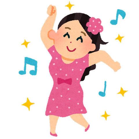楽しそうにダンスを踊っている若い女性