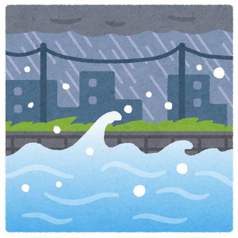 氾濫する川 雨