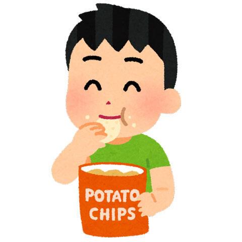 ポテトチップを食べる人