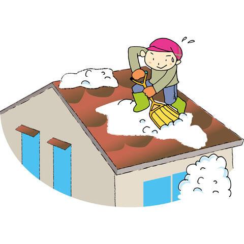 屋根の上の雪を下す男性