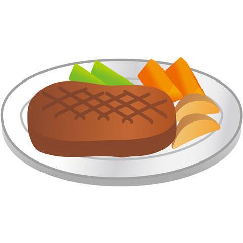 ビーフステーキと付け合わせ