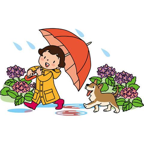 傘を差して雨の中を歩く女の子と犬