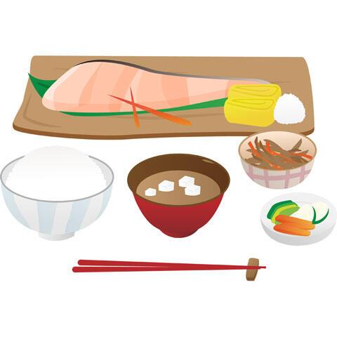 焼き鮭とご飯とみそ汁の和朝食