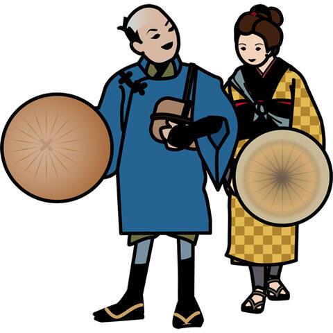 江戸時代の男女の旅人