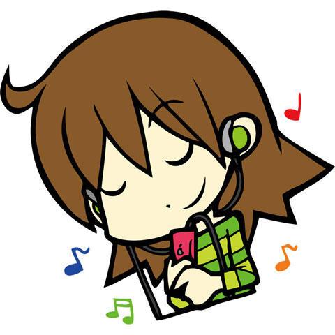 イヤホンで音楽を聴く女性