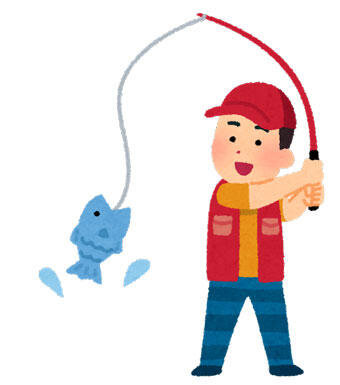 魚を釣りあげている男性
