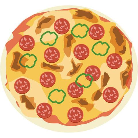 サラミなどがトッピングされたピザ