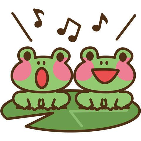 合唱するカエル