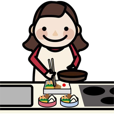 お弁当を作る母親