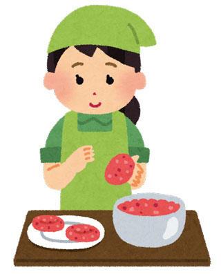 ハンバーグを作る女性