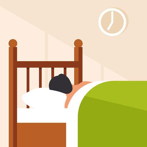 ベッドで眠る人物