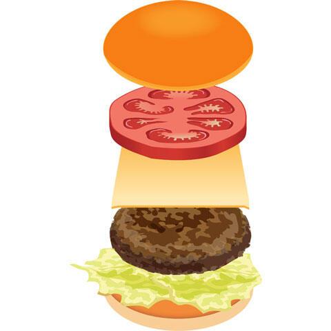 重ねるハンバーガーの具材