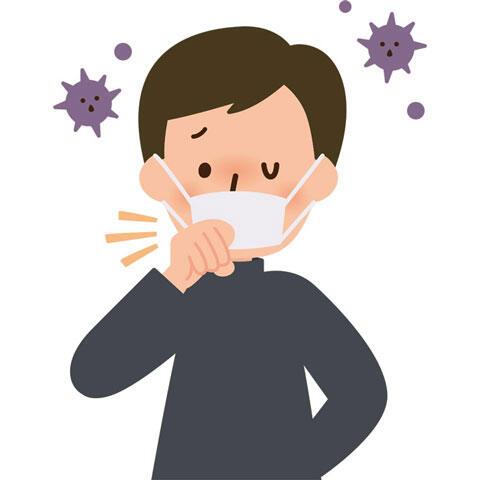 ウイルスと咳をする男性