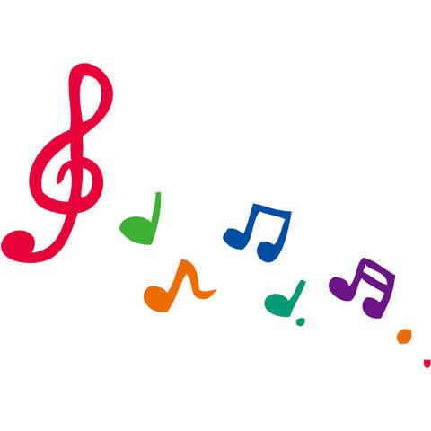流れるカラフルな音符