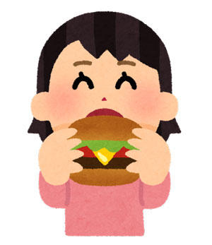 ハンバーガーを食べる人