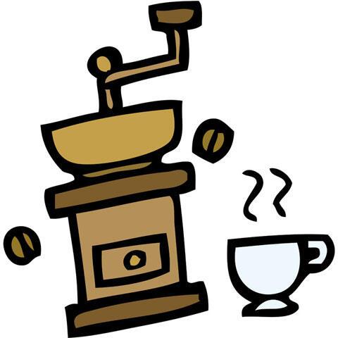 コーヒーミルとコーヒーカップ