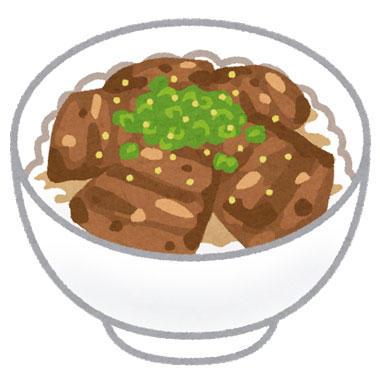 チャーシューや角煮が盛られた丼