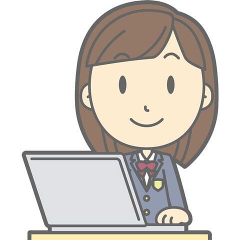 パソコンを利用する女子高生