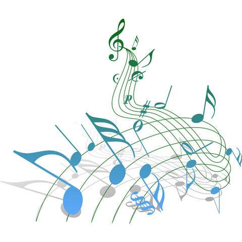 流れる五線譜と音符