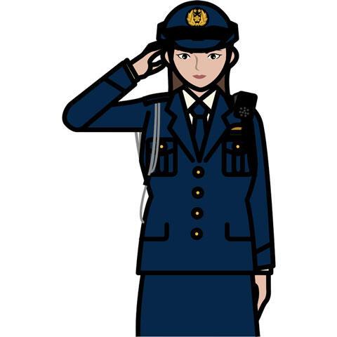 敬礼する女性警察官