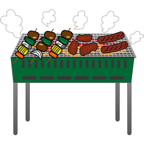 バーベキューグリルの上で焼く肉