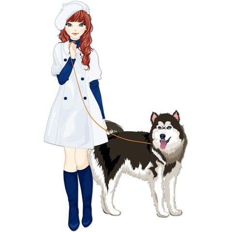 犬と一緒に散歩する女性