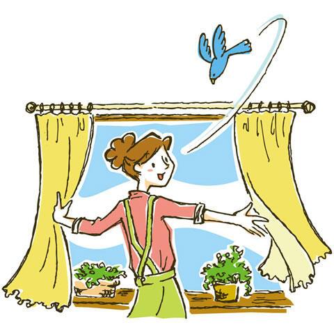 青い鳥とカーテンを開ける女性