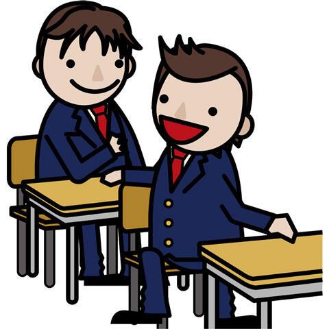 友達と会話している男子学生