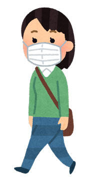 マスクを付けて歩く人