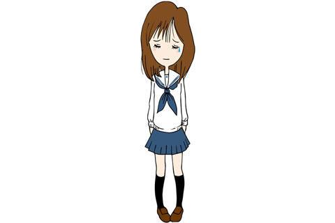 泣いているセーラー服姿の女子高生