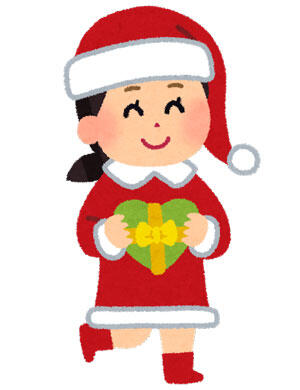 サンタクロースのコスチュームを着た女の子