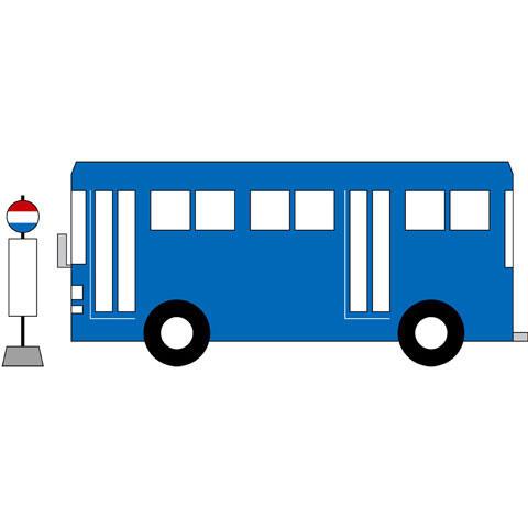 バス停に止まるバス