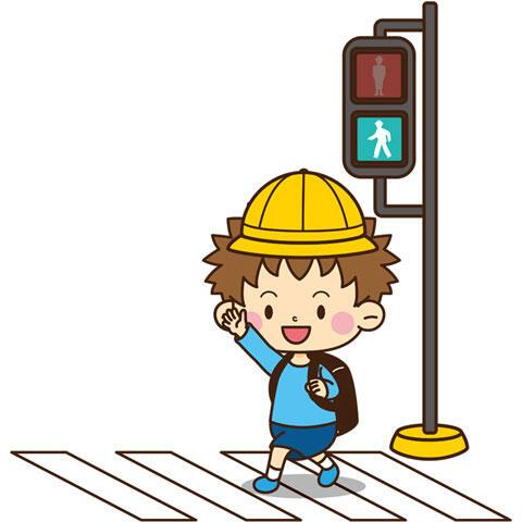 横断歩道を渡る小学生