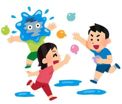 水風船で遊ぶ子供たち