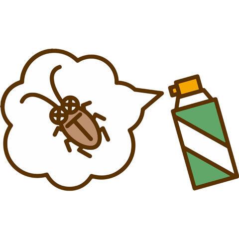 殺虫剤で退治するゴキブリ