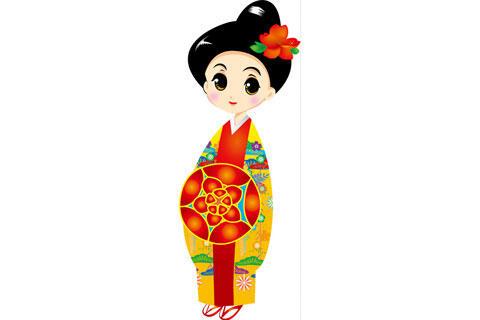 琉球王国の民族衣装を着た女性