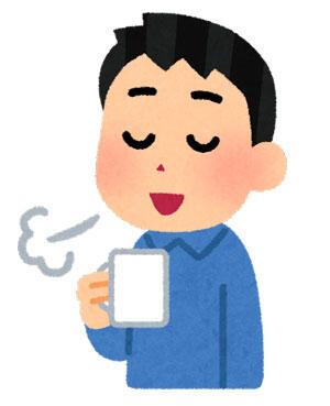 コーヒーで一服している人