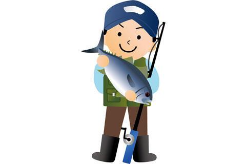 大物を釣り上げた釣り人の男性