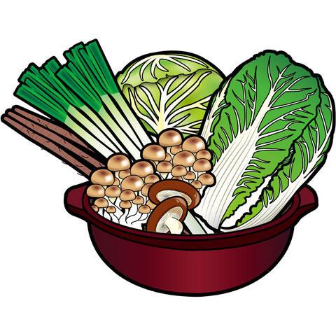 土鍋の中の野菜と茸