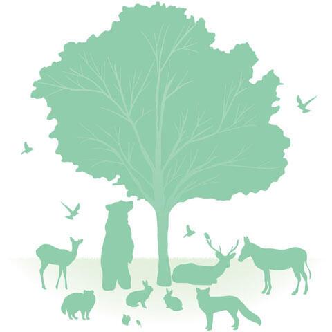 木と動物たちのシルエット