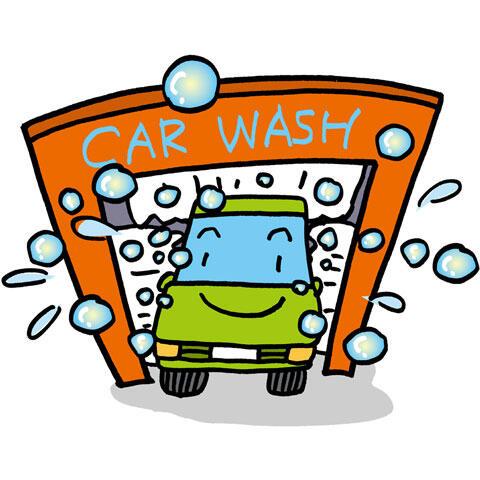 洗車場で洗う車