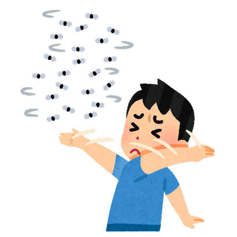 蚊柱を追い払う人
