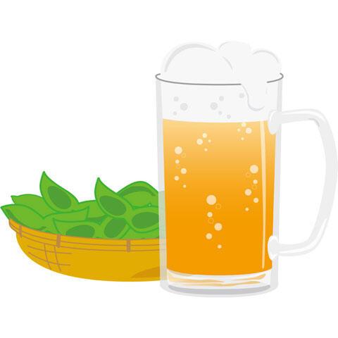 ビールとつまみの枝豆