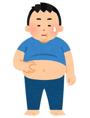お腹の肉をつまむ太った男性