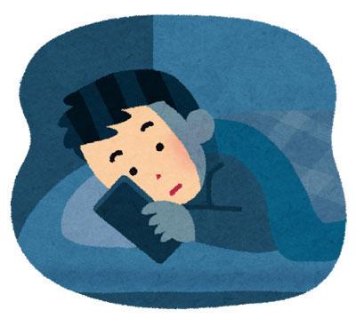 夜寝る前スマホを使っている人