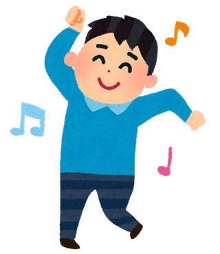 歌って踊る男性