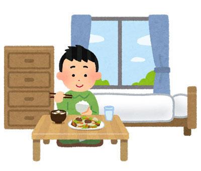 ご飯を食べている一人暮らしの男性