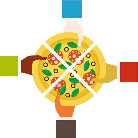 4等分するピザ
