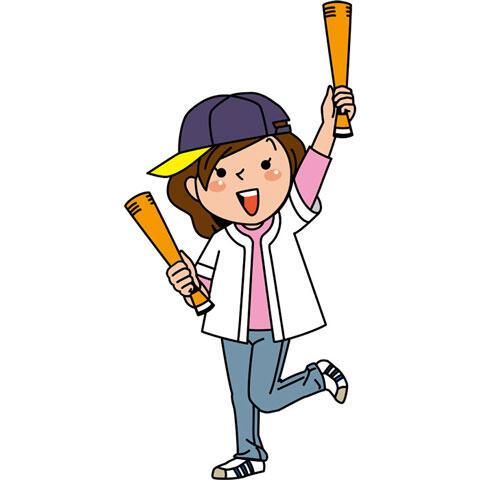 野球観戦する女性