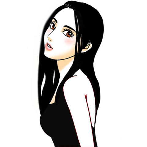 黒いドレスを着た黒髪の女性